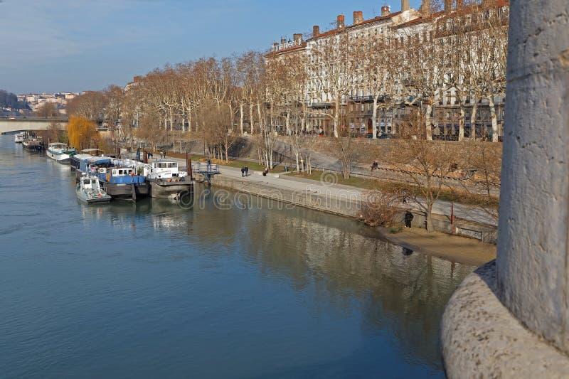 Quais DU Rhône in Lyon lizenzfreie stockbilder