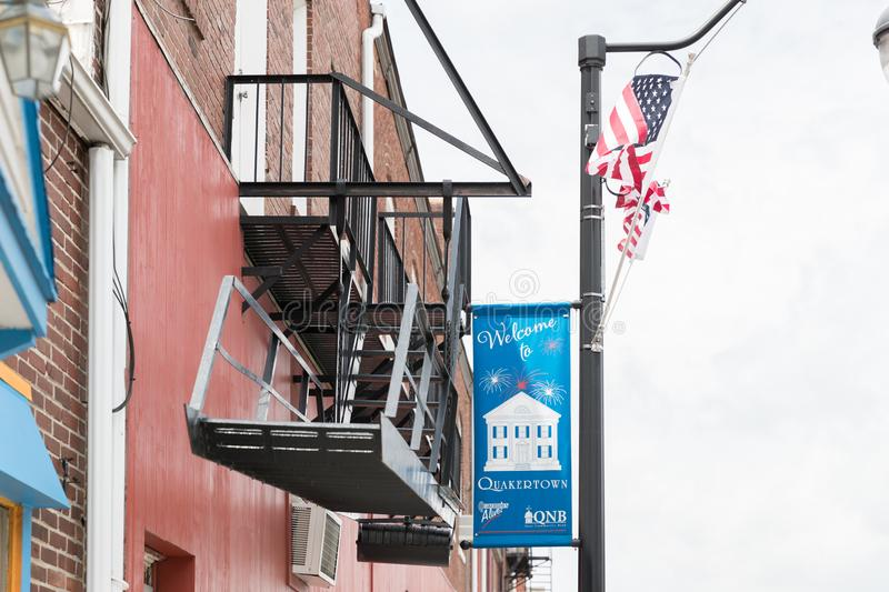A photo of a typical small town main street in the United States of America. Quakertown, Pennsylvania - May 19, 2018: A photo of a typical small town main stock photos