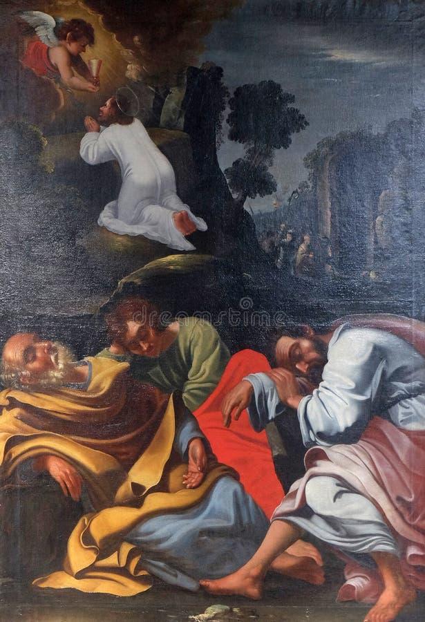 Qual im Garten, Jesus im Garten von Gethsemane lizenzfreie stockfotos