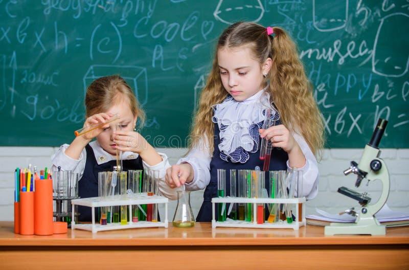 Qualche cosa di incredibile sta aspettando per essere conosciuto Piccolo studio degli studenti Piccolo allievi che studiano chimi fotografie stock