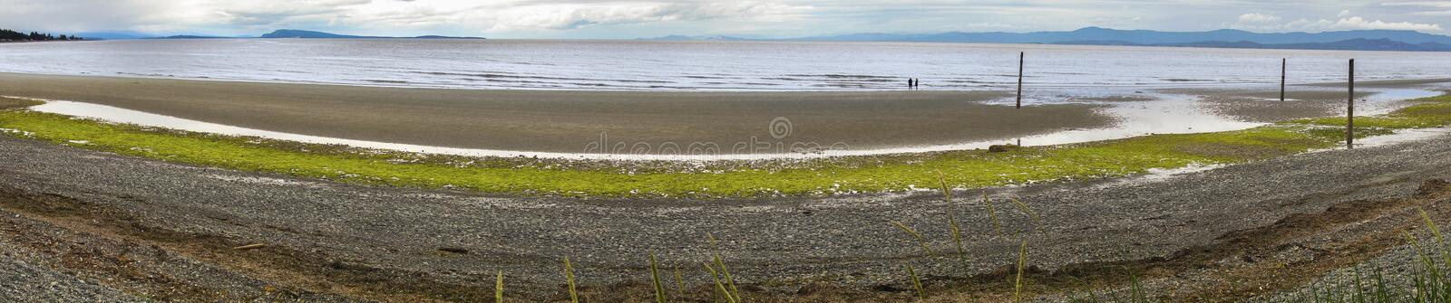 Qualicum Beach Waterfront Vancouver Island BC Canada. Wide Panoramic Landscape of Georgia Strait Coastline in Qualicum Beach on Vancouver Island British Columbia royalty free stock images