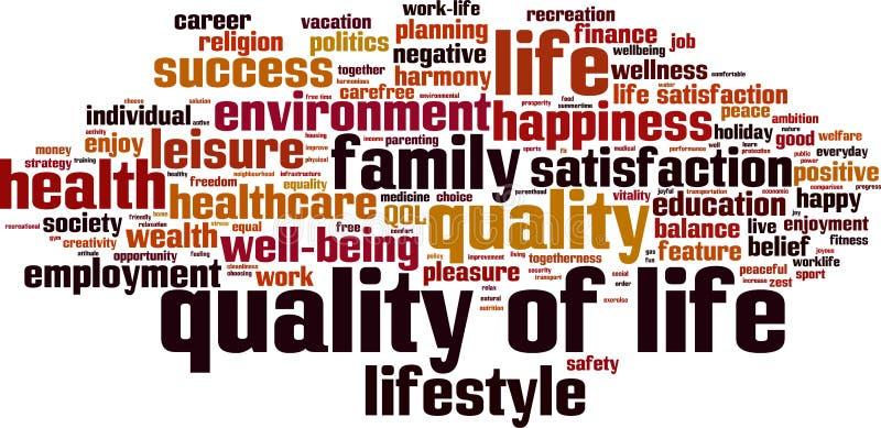 Qualidade da nuvem da palavra da vida ilustração do vetor