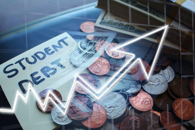 Qualidade de Debt Increasing High do estudante fotos de stock