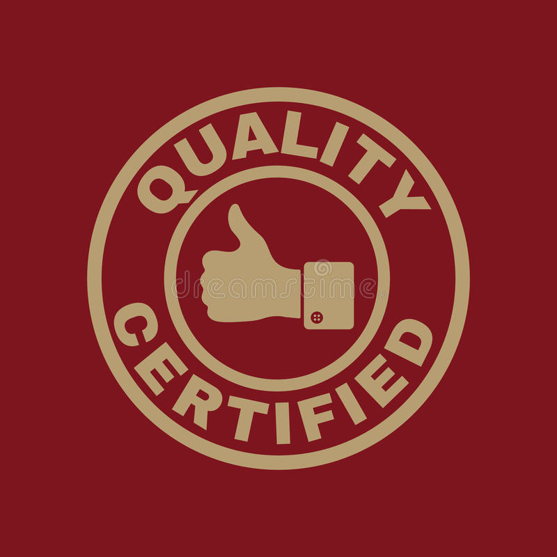 A qualidade e os polegares certificados levantam o ícone A aprovação, aprovação, certificação, aceitou o símbolo liso ilustração stock