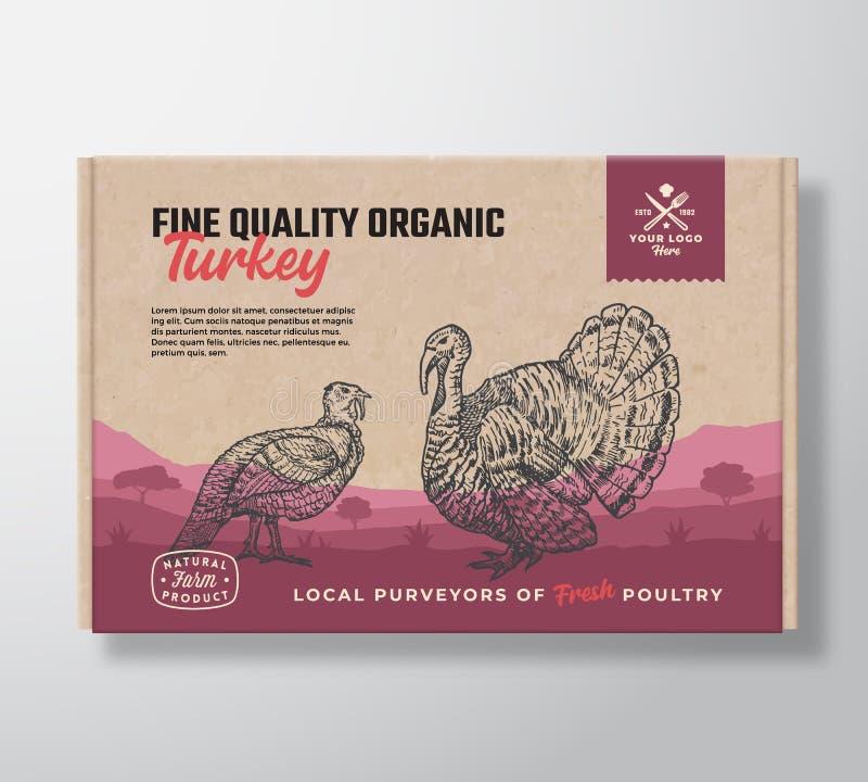 Qualidade fina Turquia orgânica Projeto da etiqueta do empacotamento de carne do vetor em um recipiente da caixa de cartão do ofí ilustração royalty free