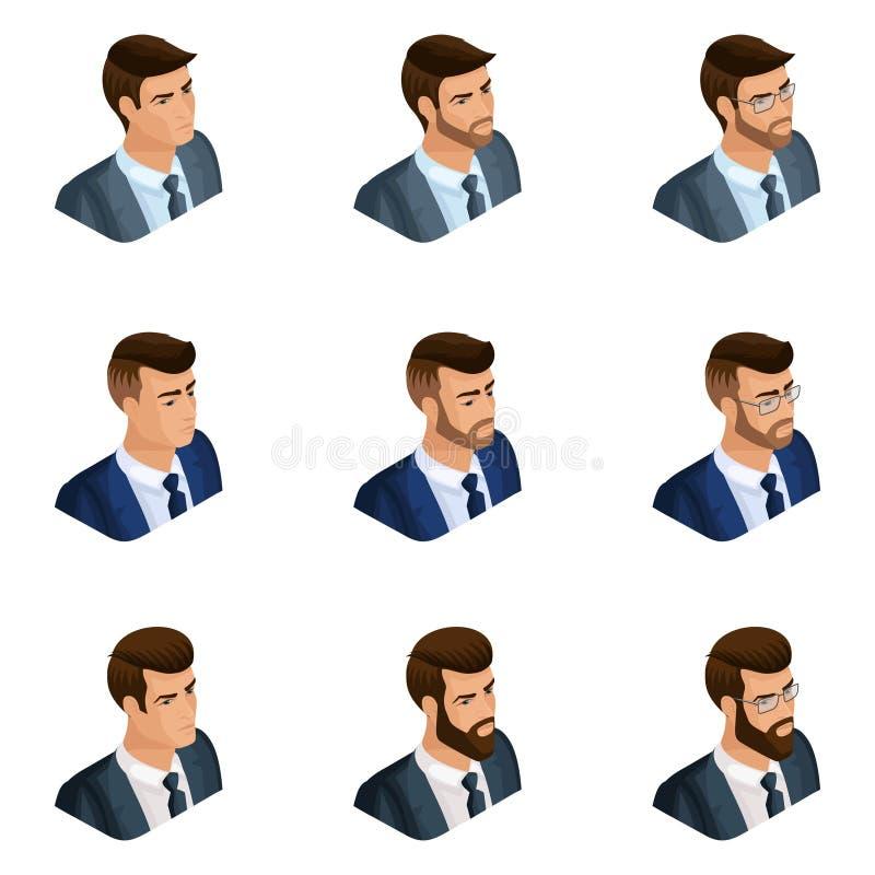 A qualidade Isometry, um grupo de homens de negócio do avatar 3d de imagens diferentes, com emoções, com uma barba e vidros, subl ilustração do vetor