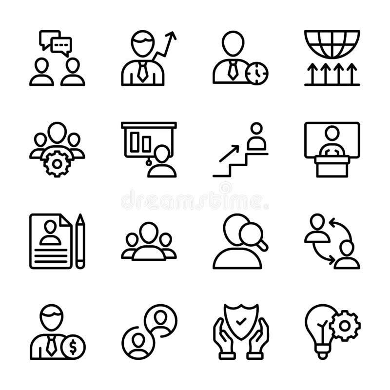 Qualidade pessoal, linha ícones da gestão do empregado ilustração royalty free
