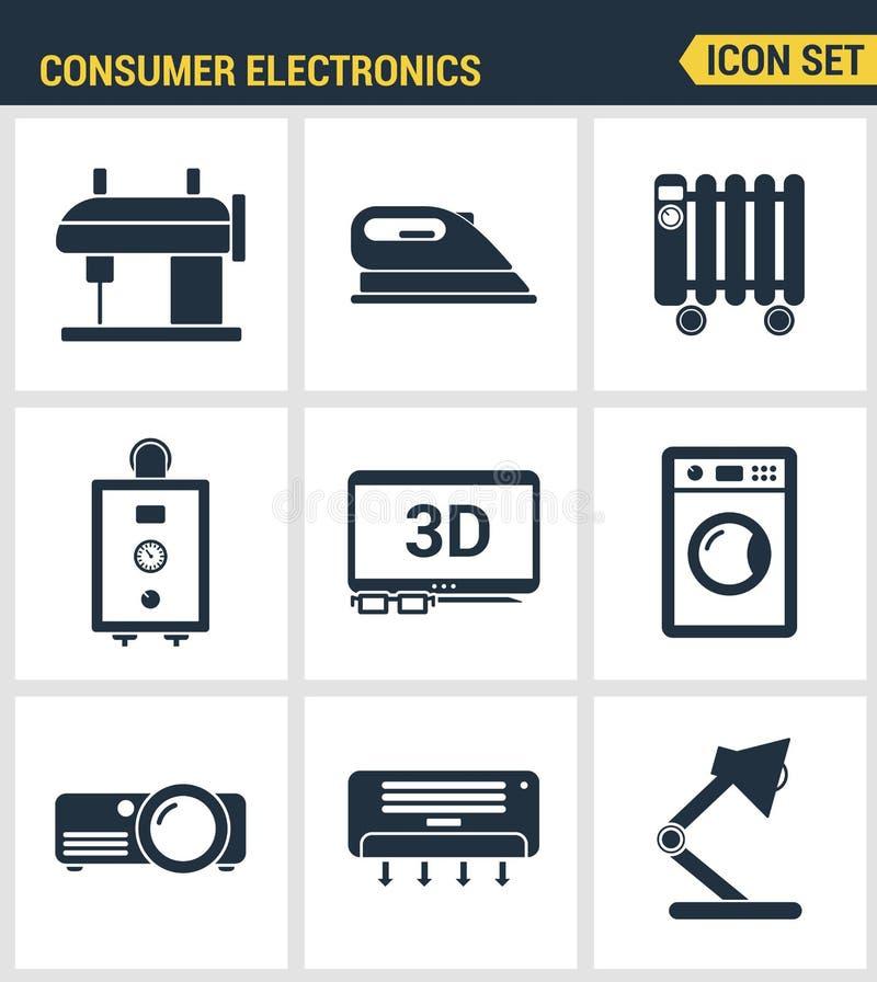 Qualidade superior ajustada ícones dos aparelhos eletrodomésticos ilustração stock