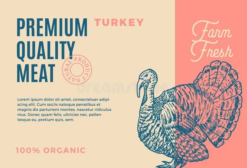 Qualidade superior Turquia Projeto ou etiqueta abstrata de empacotamento da carne do vetor Tipografia moderna e esboço tirado mão ilustração royalty free