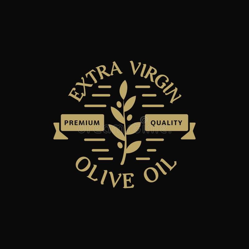 Qualidade virgem extra do prêmio do azeite Etiqueta do vintage do ramo de azeitonas Molde verde retro do logotipo do vetor dos pr ilustração royalty free