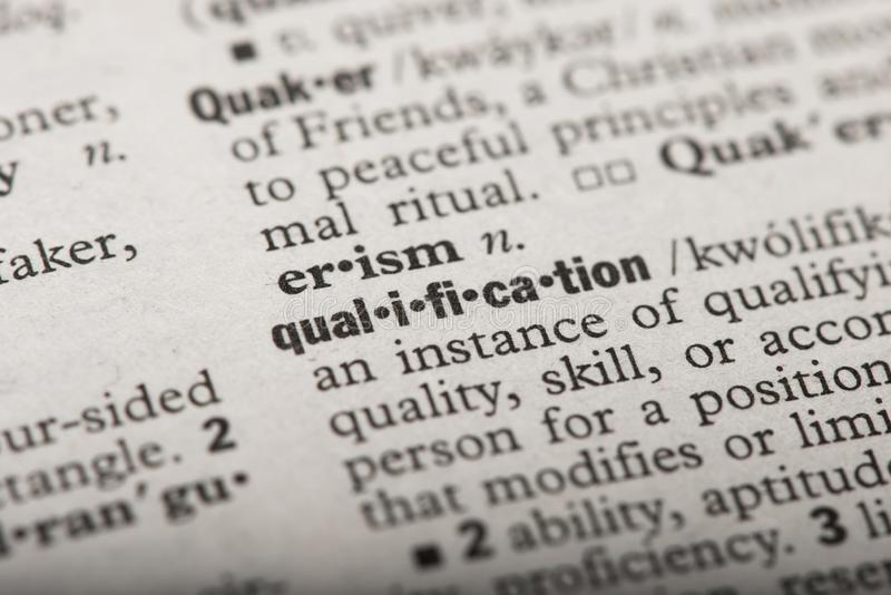 Qualification in a Dictionary stock photos