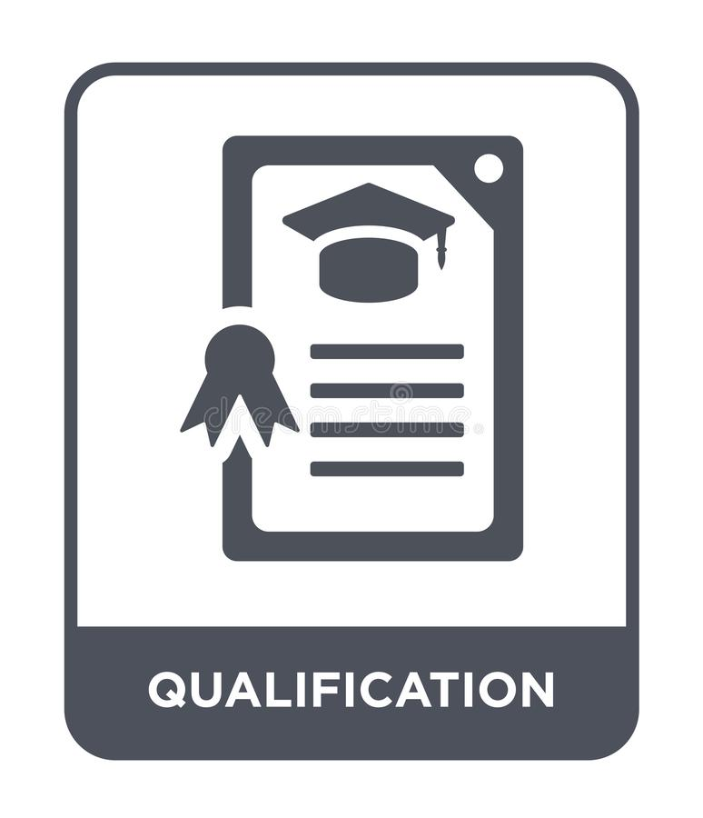 Qualification icon in trendy design style. qualification icon isolated on white background. qualification vector icon simple and. Modern flat symbol for web royalty free illustration