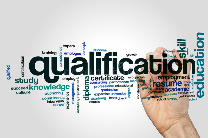 Qualification word cloud. Concept on grey background stock photo