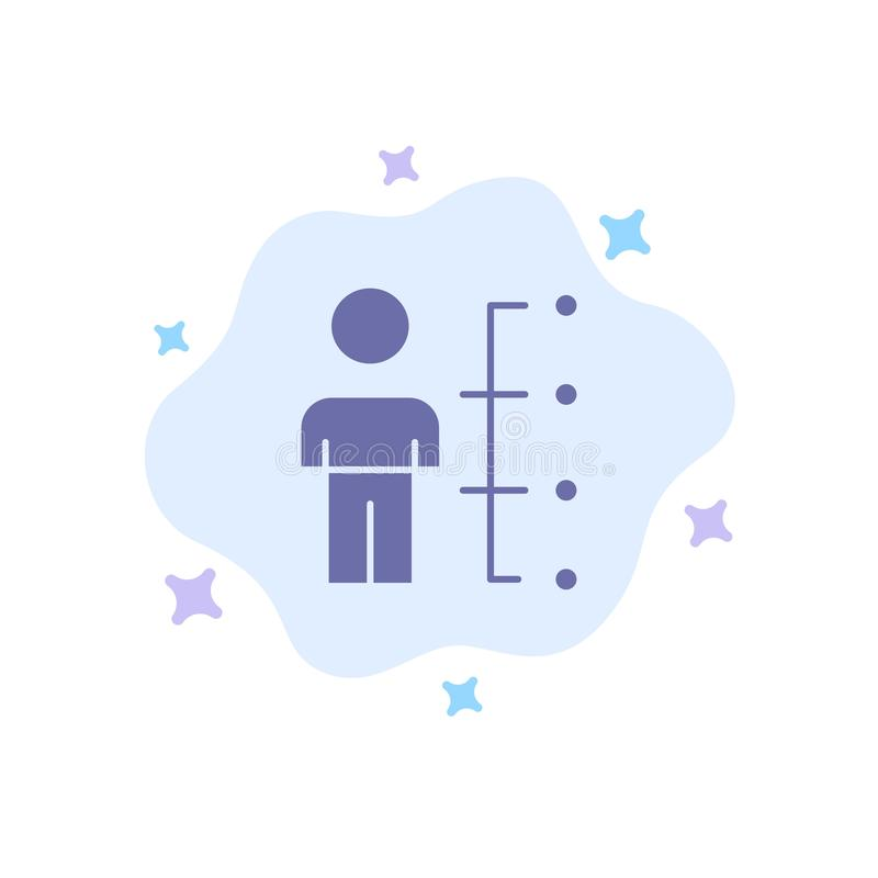 Qualifications, capacités, employé, humain, homme, icône bleue de personnes sur le fond abstrait de nuage illustration stock