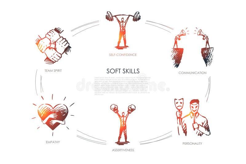 Qualifications douces, confiance en soi, personnalité, assurance, esprit d'équipe illustration de vecteur