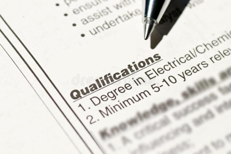 Qualificazione di lavoro immagine stock