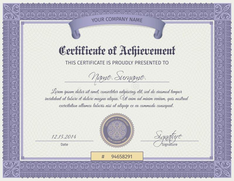 Qualifikations-Zertifikat-Schablone lizenzfreie abbildung