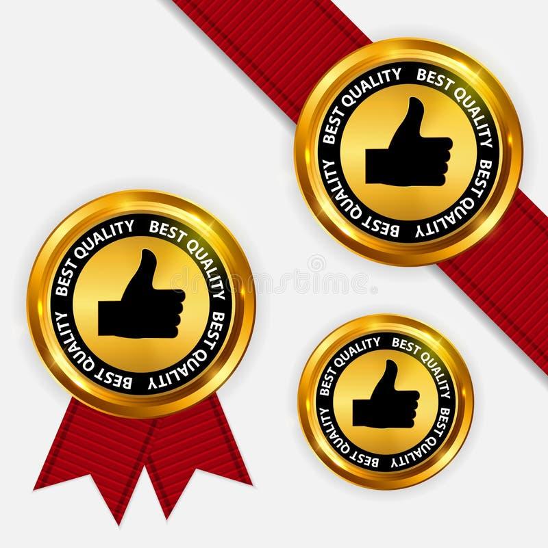 Qualità dell'etichetta dell'oro migliore Illustrazione di vettore illustrazione di stock