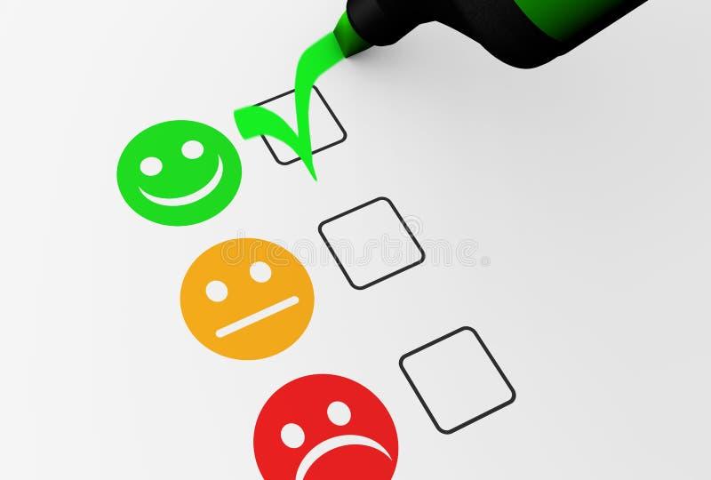 Qualità felice di affari di feedback dei clienti illustrazione vettoriale