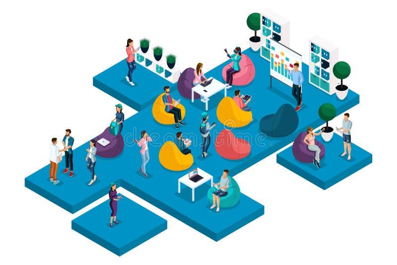 Qualità Isometrics, il concetto del centro coworking, addestramento, lavoro, freelancing per i progettisti, programmatori, copywr illustrazione di stock
