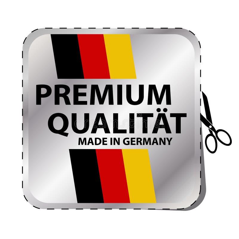 Qualità premio fatta in bottone della Germania - illustrazione dell'autoadesivo di vettore - isolato su bianco royalty illustrazione gratis