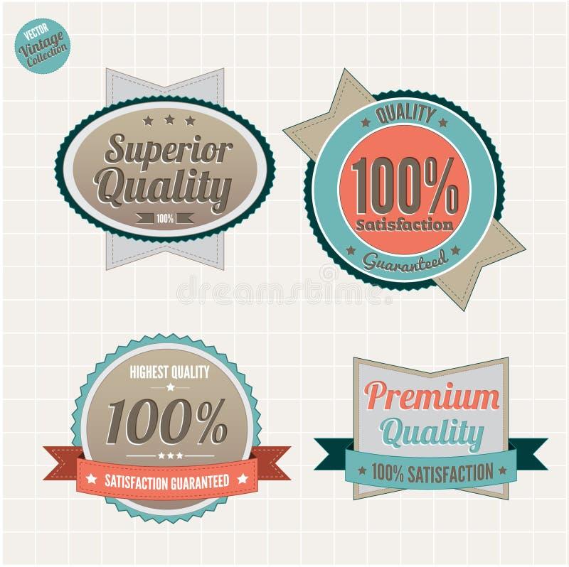 Qualität und Zufriedenheit garantieren Abzeichen stock abbildung