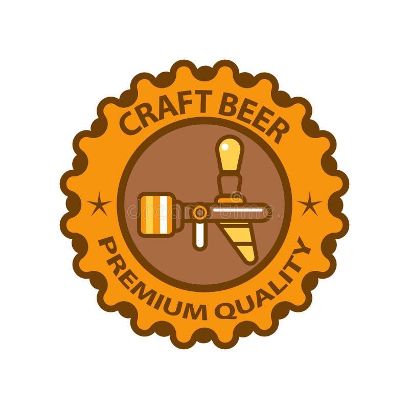 Qualitäts-Firmenzeichendesign des Handwerksbieres erstklassiges lokalisiert auf weißem Hintergrund stock abbildung
