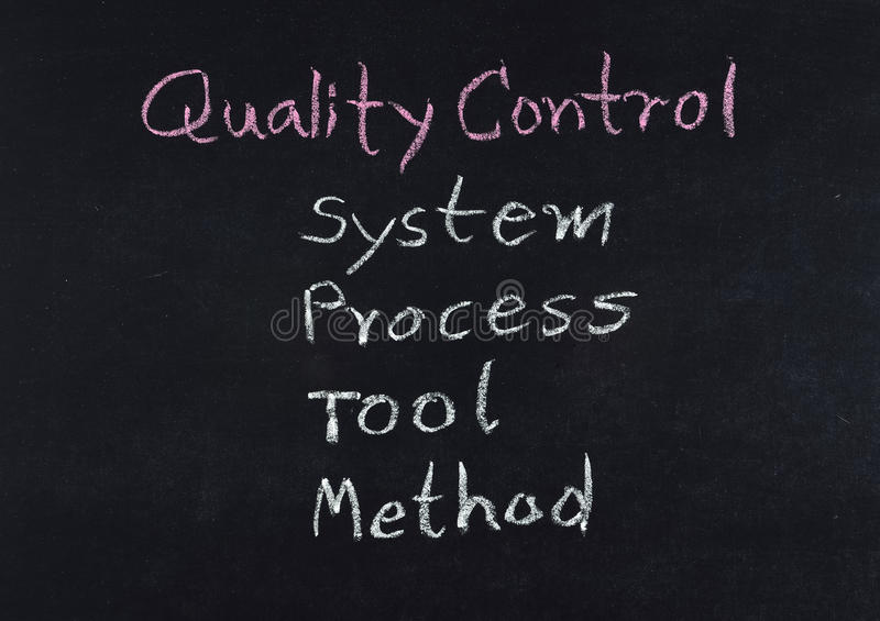 Qualitätskontrollkonzept (System - Prozess- Werkzeug - Methode) lizenzfreies stockbild