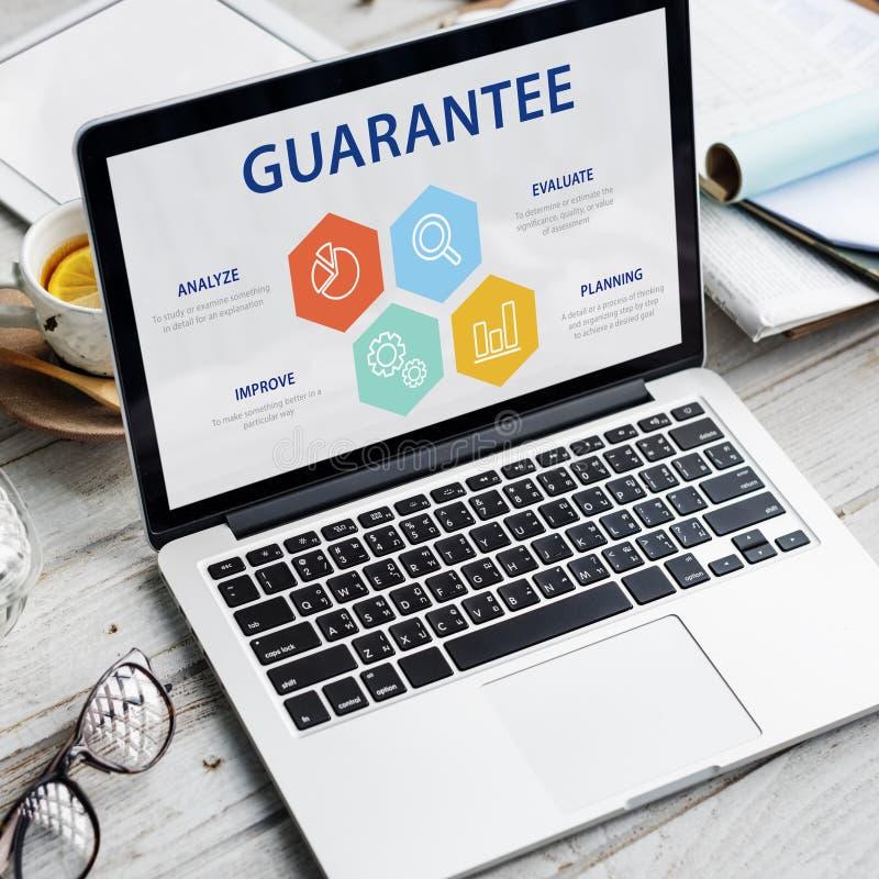 Qualitätssicherungs-Garantie-Garantie-vertrauenswürdiges Konzept stockfotografie