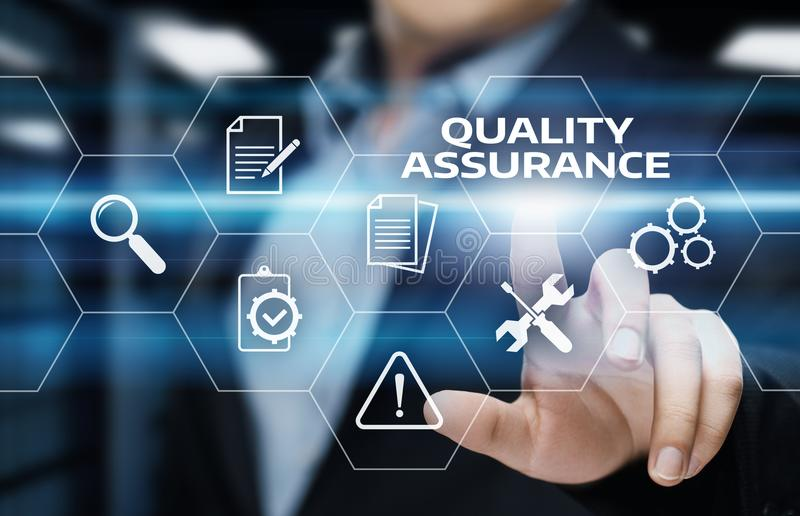 Qualitätssicherungs-Service-Garantie-Standardinternet-Geschäfts-Technologie-Konzept lizenzfreies stockbild