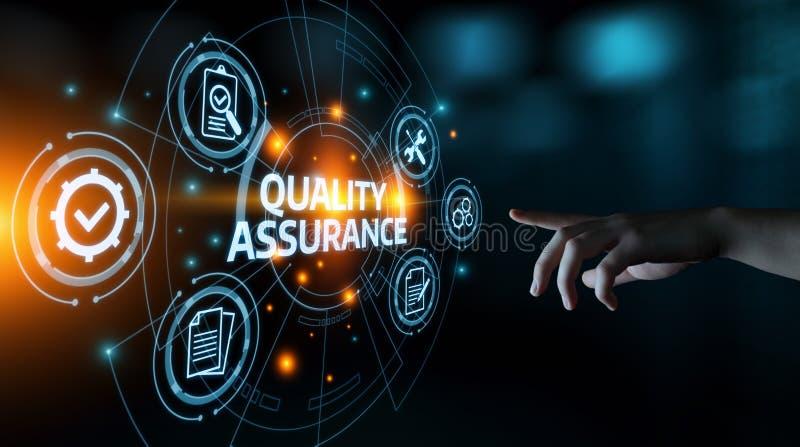 Qualitätssicherungs-Service-Garantie-Standardinternet-Geschäfts-Technologie-Konzept stockbild