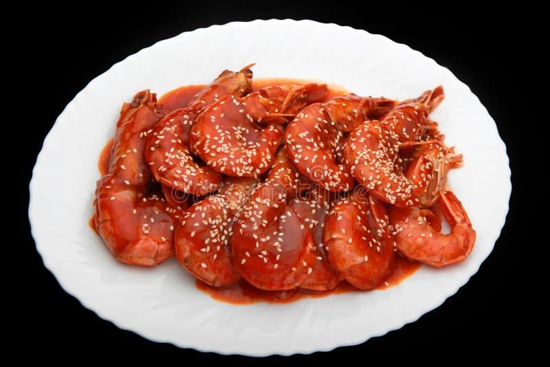 Qualité épicée chinoise chaude de studio de crevettes photographie stock