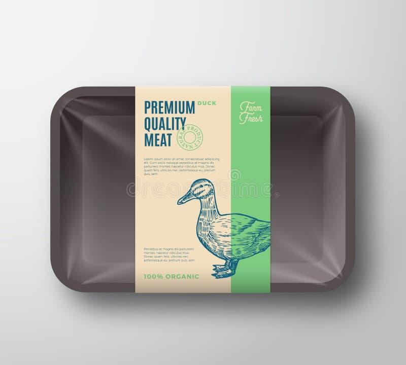 Qualité de la meilleure qualité Duck Pack Volaille abstraite de vecteur Tray Container de plastique avec la couverture de celloph illustration stock
