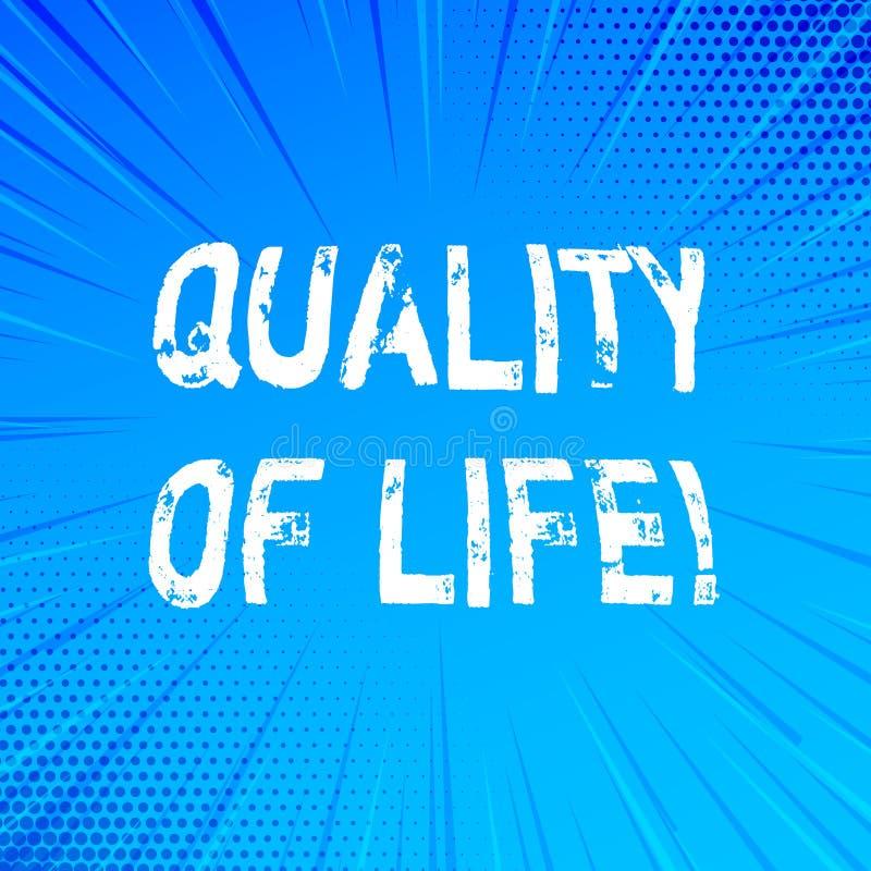 Qualité de vie d'écriture des textes d'écriture Bien-être agréable de moments de bon bonheur de mode de vie de signification de c illustration libre de droits