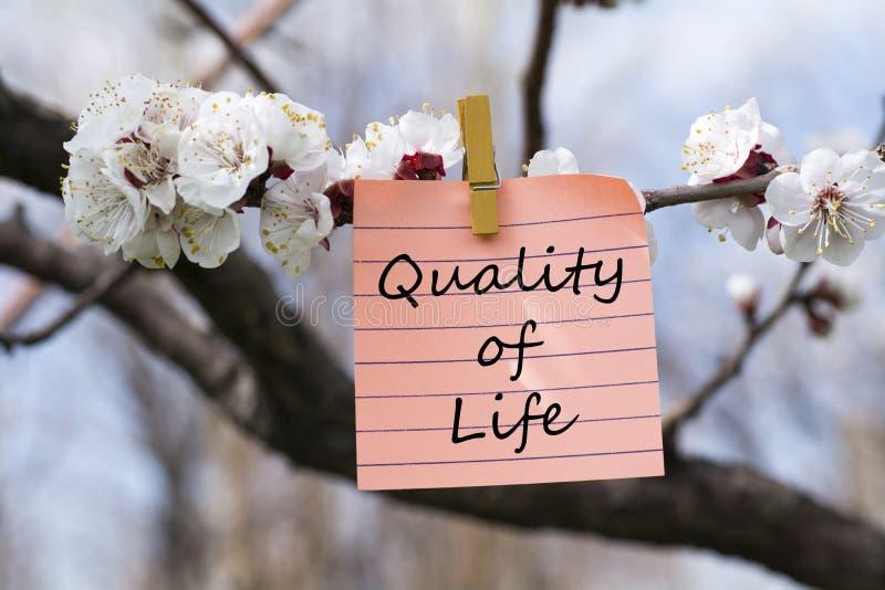 Qualité de vie dans la note photo stock