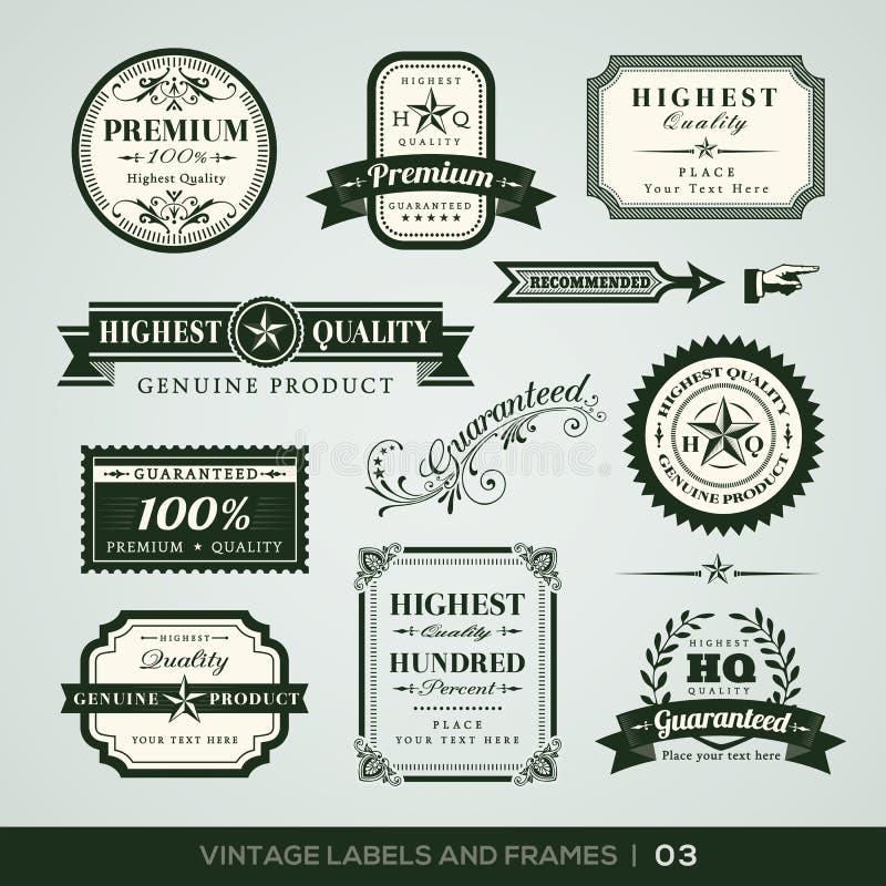 Qualité de vintage et labels et cadres de la meilleure qualité de garantie illustration de vecteur