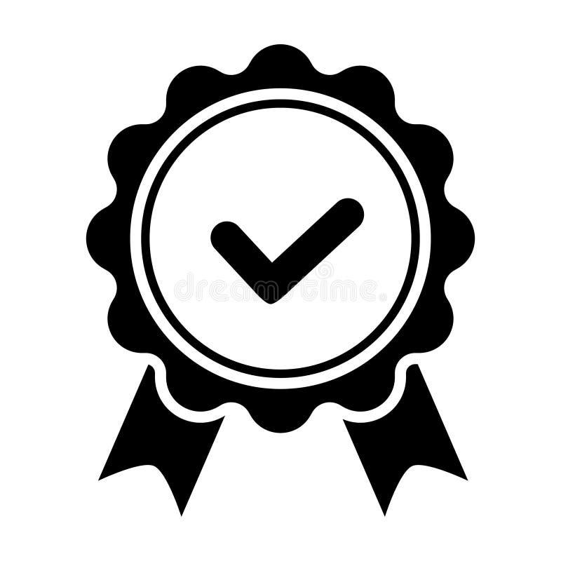 Qualit?tskontrollbandikone Zugelassene oder beste Wahl des Vektorproduktes empfahl anerkanntes Zertifikatkennzeichen des Preises  stock abbildung