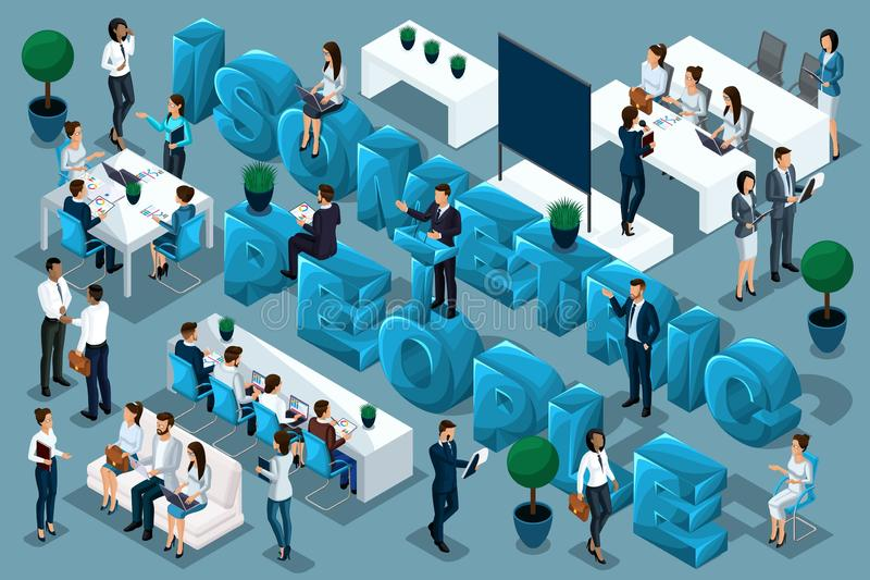 Qualitative Isometry, 3D characters, business people conduct trainings and train people. Great composition advertising stock illustration