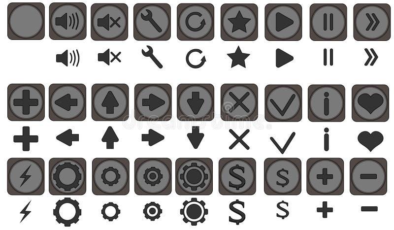Qualiti symboler ställde in, fulla symboler pac, symboler för apps, leken, den mobila manöverenheten, pilar, framåt baksida, lämn stock illustrationer
