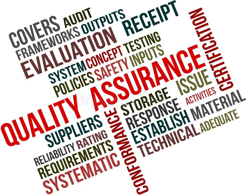 QUALITY ASSURANCE. A word cloud of Quality assurance related items stock illustration