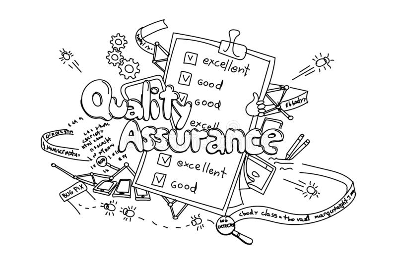 Quality assurance, vector hand drawn illustration isolated on white background stock illustration
