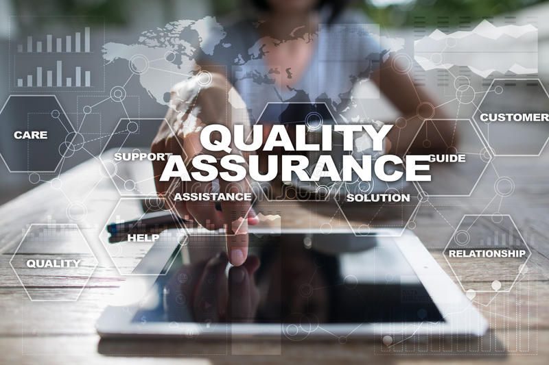 Quality assurance on virtual screen. Business concept royalty free stock photo
