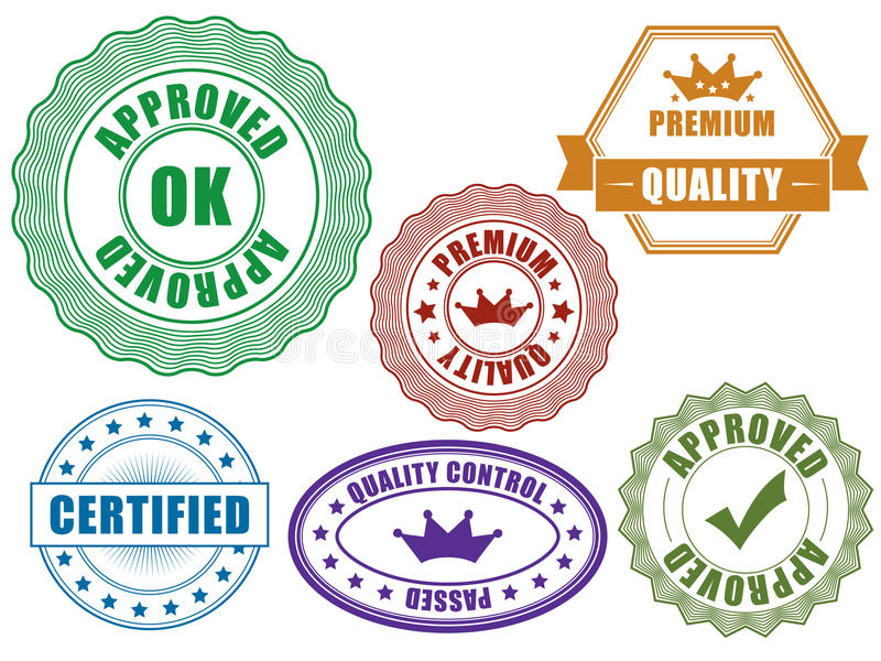 Quality badges. Set of control badges with text stock illustration