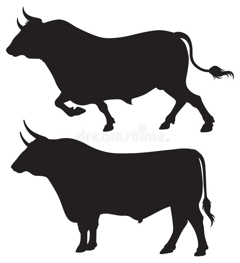 Two majestic bull Silhouettes vector illustration