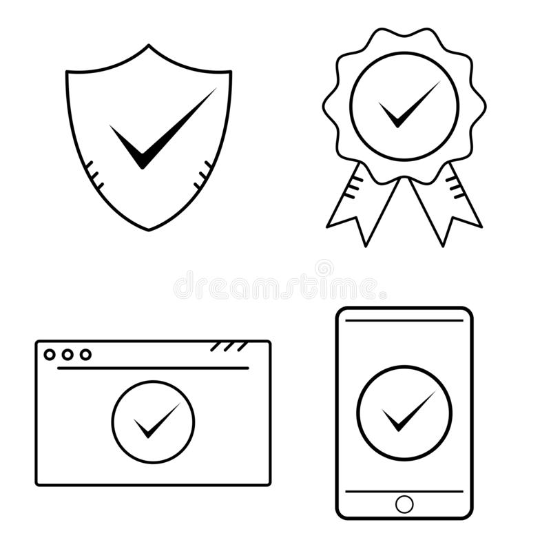 Quality certified guarantee, Shield, web page site, smartphone screen signs with checkmark. Outline approved and correct icon in stock illustration