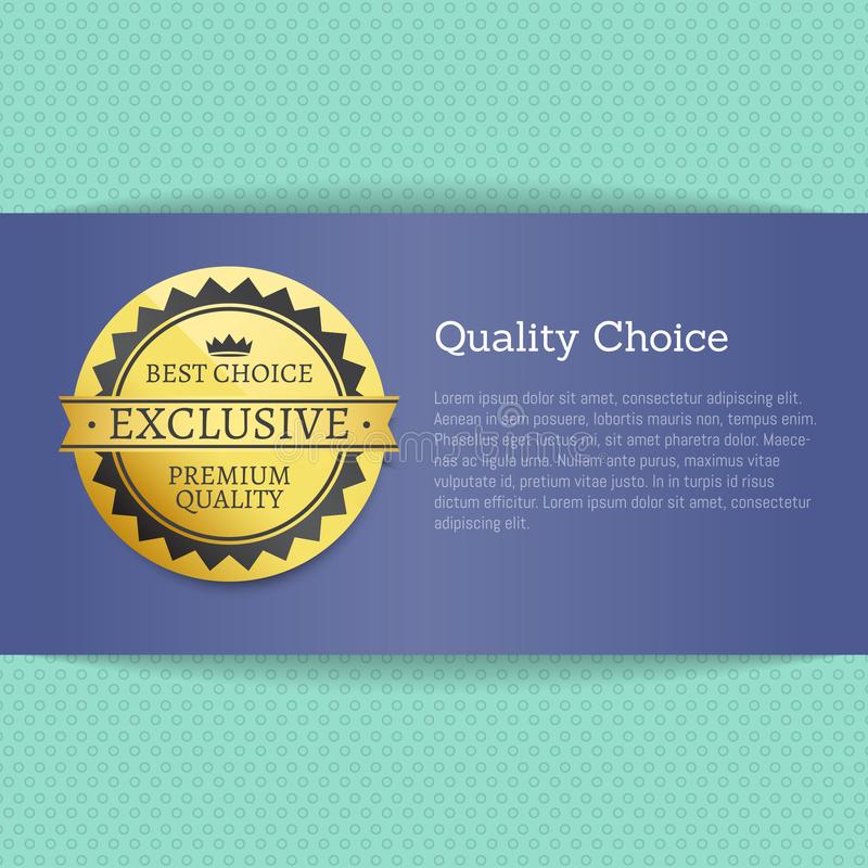 Quality Choice High Award Best Stamp Golden Label. Reward award vector illustration in blue and gold colors with text on striped blue background royalty free illustration