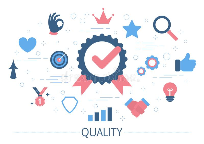 Quality concept. Idea of the approval mark. Quality concept. Idea of approval mark on business product as a sign of good quality. Guarantee and certificate vector illustration