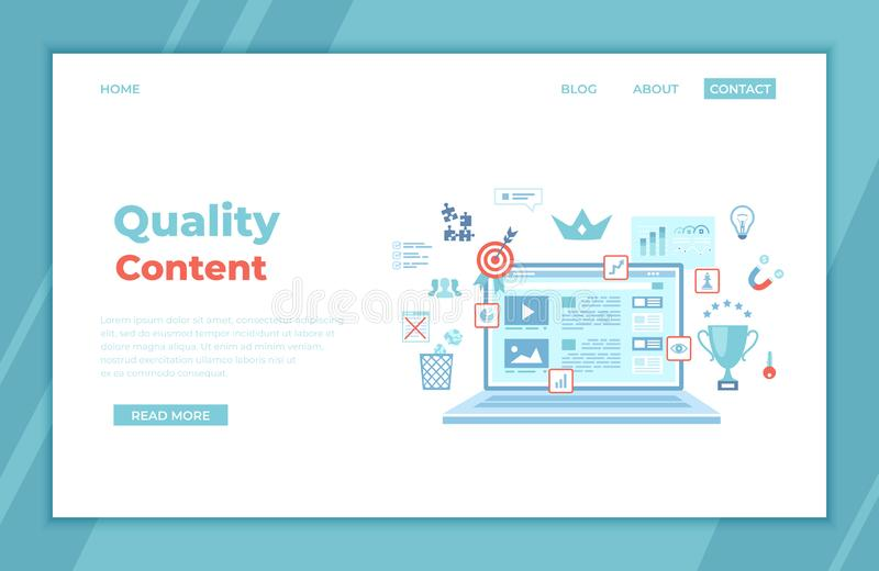 Quality content, content management, optimization, filtration, evaluation. Flat web page design template on the laptop screen stock illustration