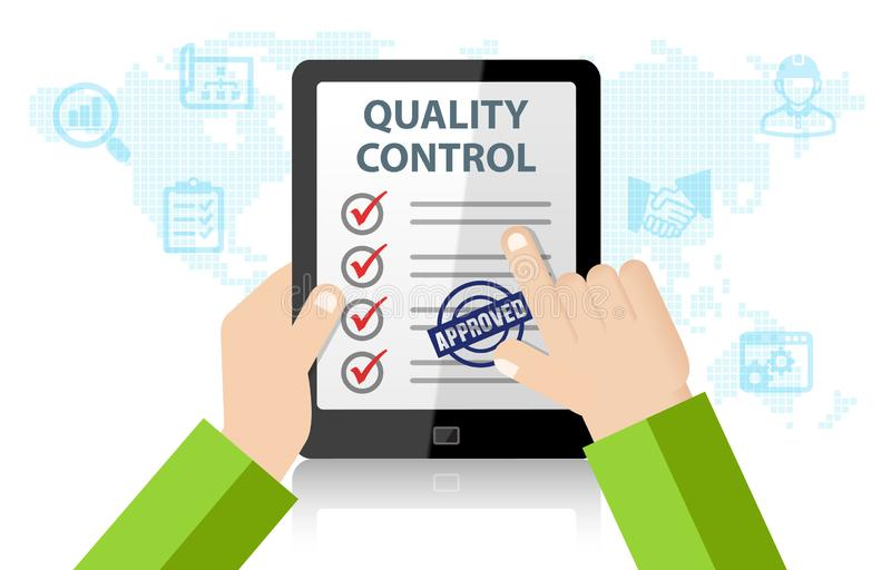 Quality Control Approval. With tablet on white background vector illustration