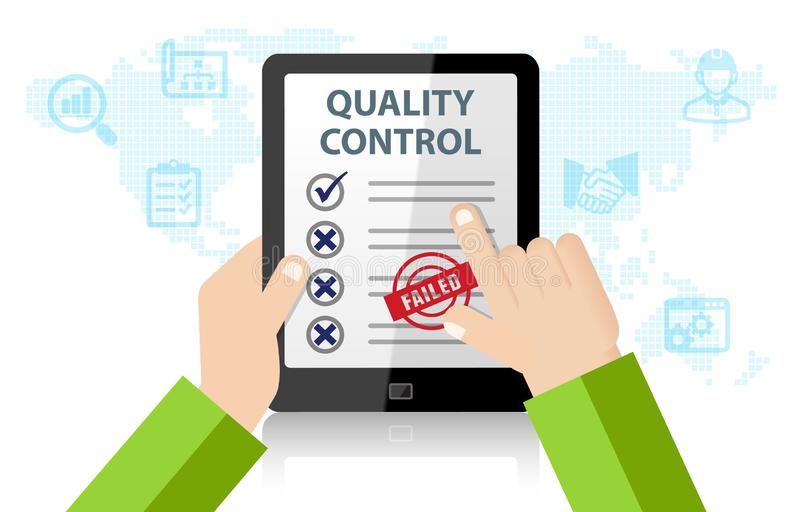 Quality Control Approval. With tablet on white background royalty free illustration